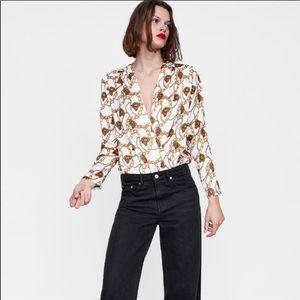 Zara Chain Print Bodysuit NWT